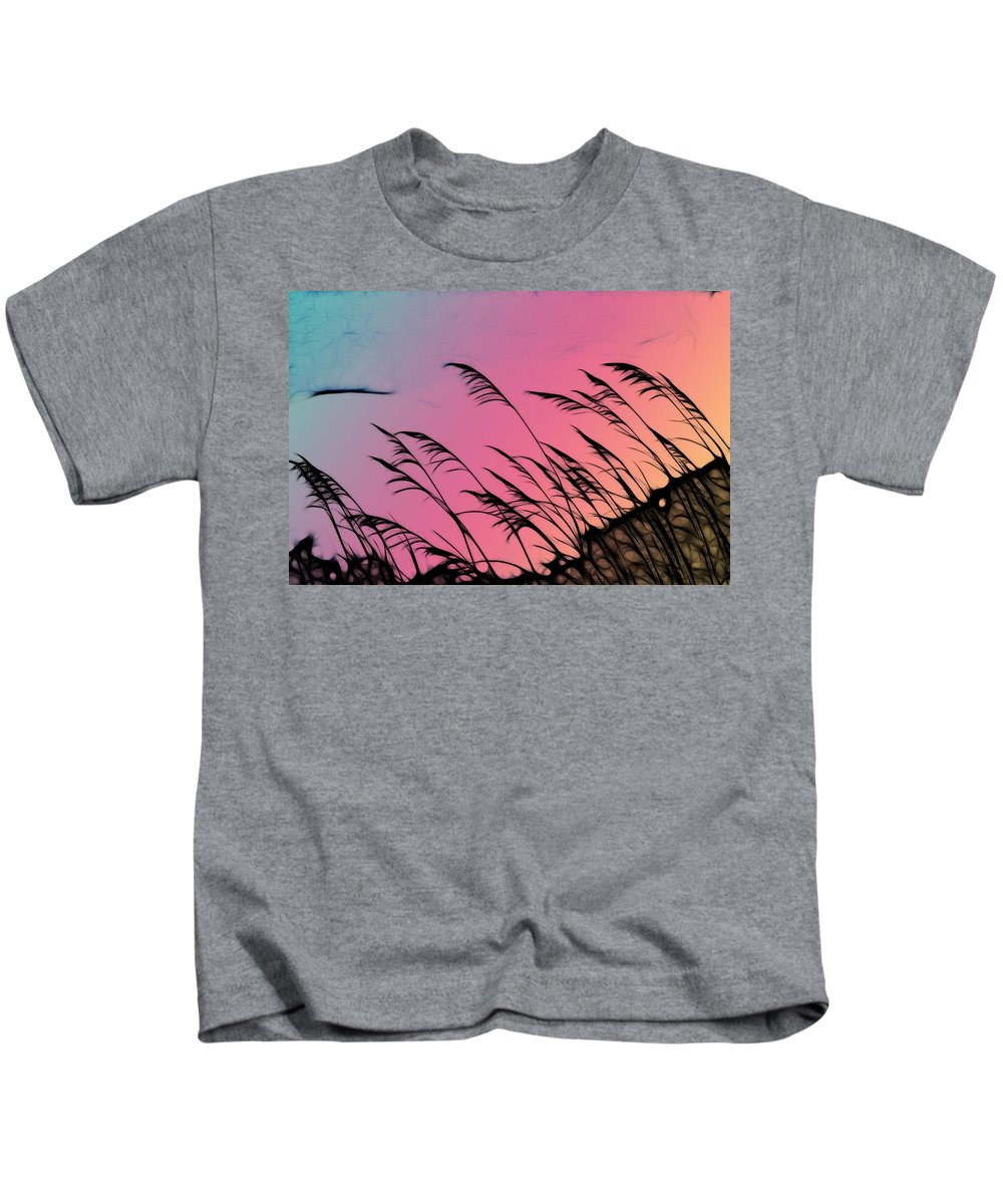 Rainbow Kids T-Shirt featuring the photograph Rainbow Batik Sea Grass Gradient Silhouette by Kathy Clark