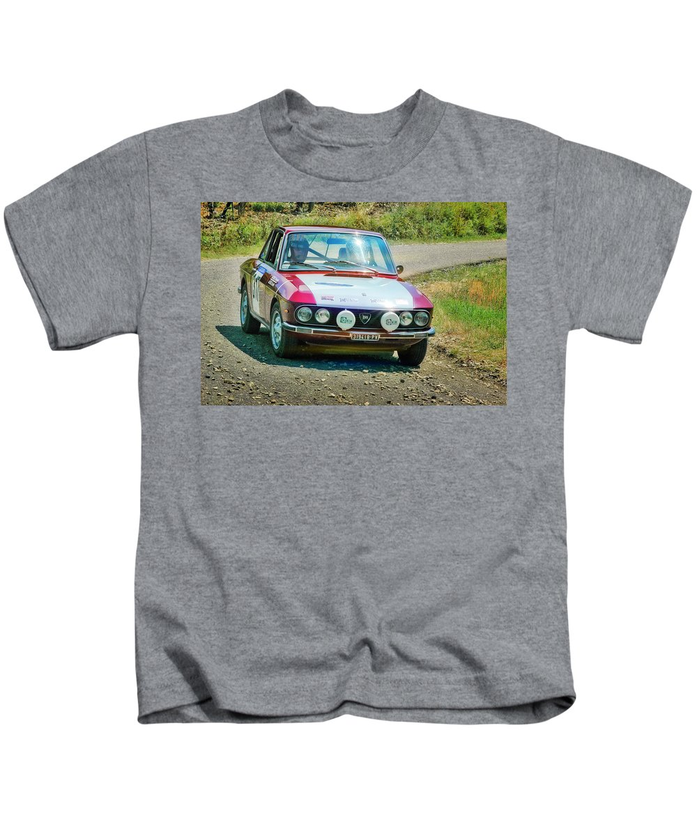 Car Kids T-Shirt featuring the photograph Red And White Lancia by Alain De Maximy