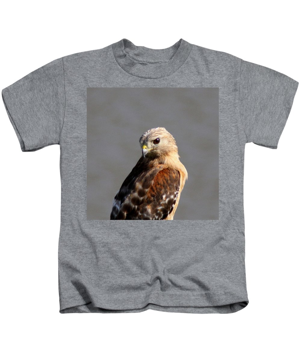 Red-shouldered Hawk Kids T-Shirt featuring the photograph Red-shouldered by Travis Truelove