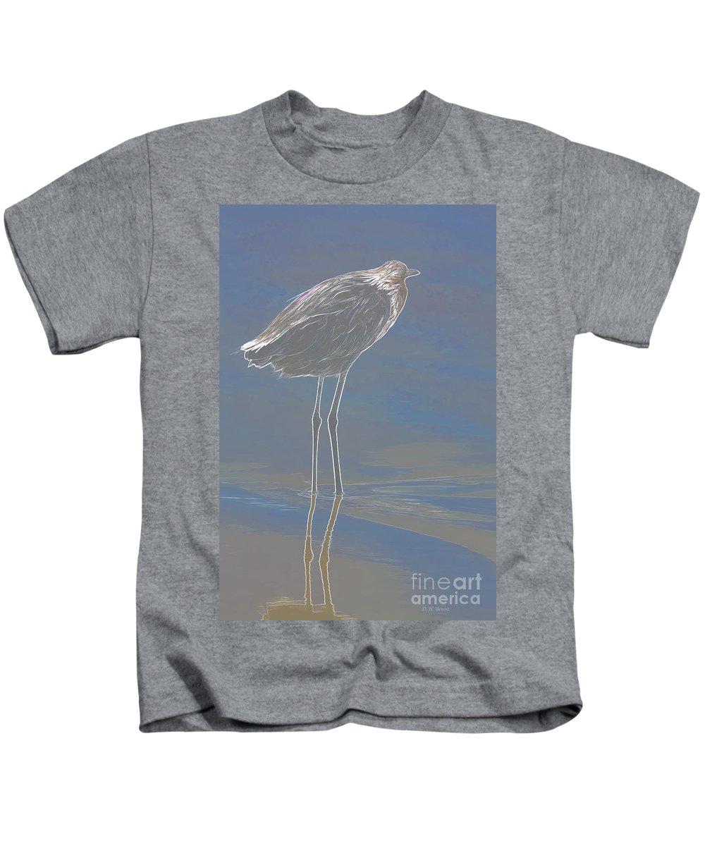 Wildlife Art Kids T-Shirt featuring the photograph Reddish Egret by Deborah Benoit