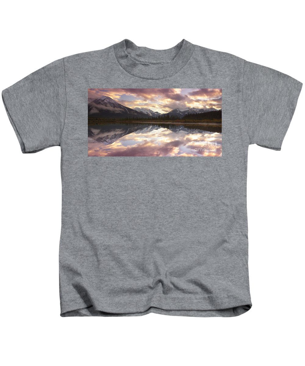 Water Photography Kids T-Shirt featuring the photograph Reflecting Mountains by Keith Kapple