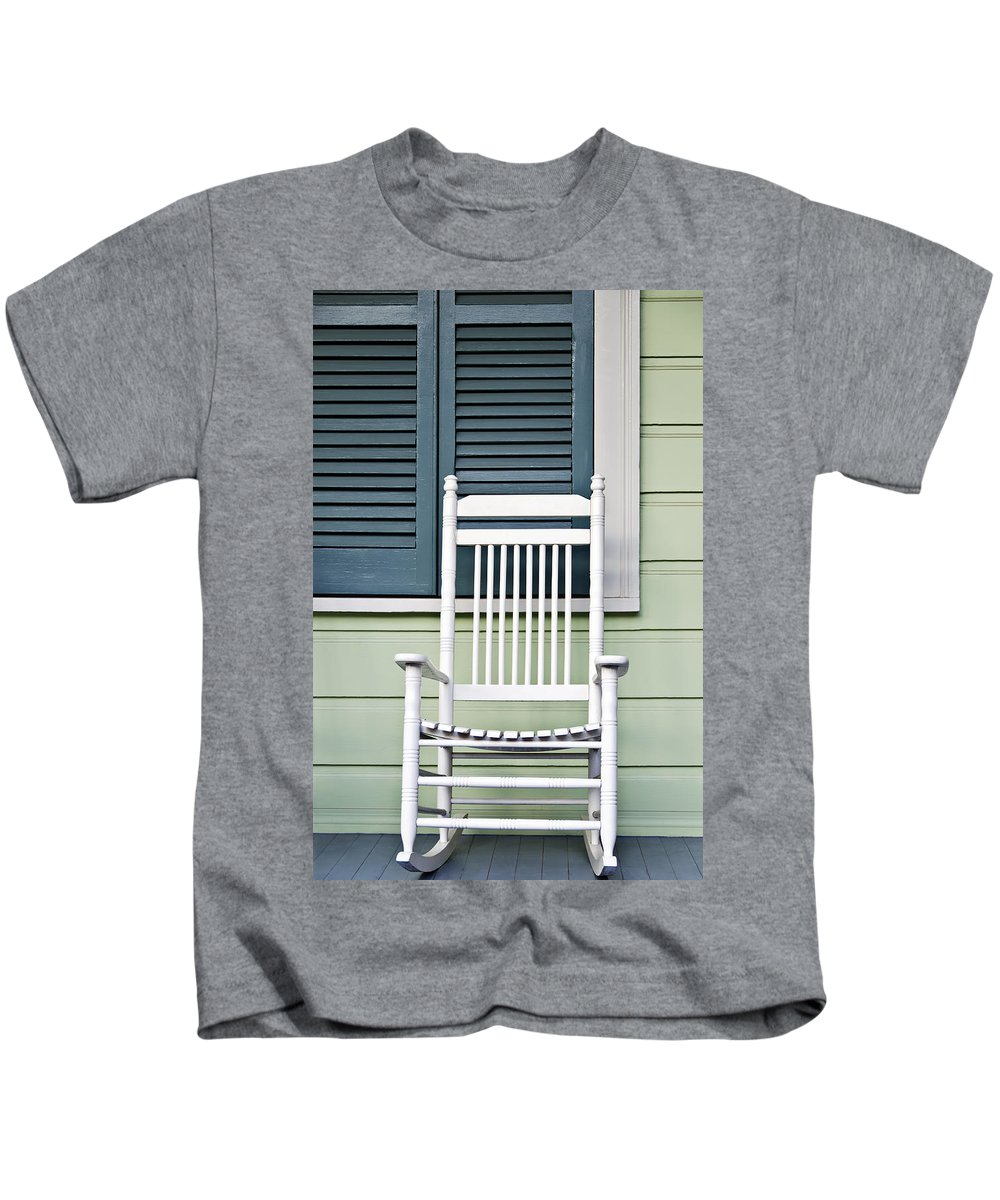 Aqua Kids T-Shirt featuring the photograph Rocking Chair by Ray Laskowitz