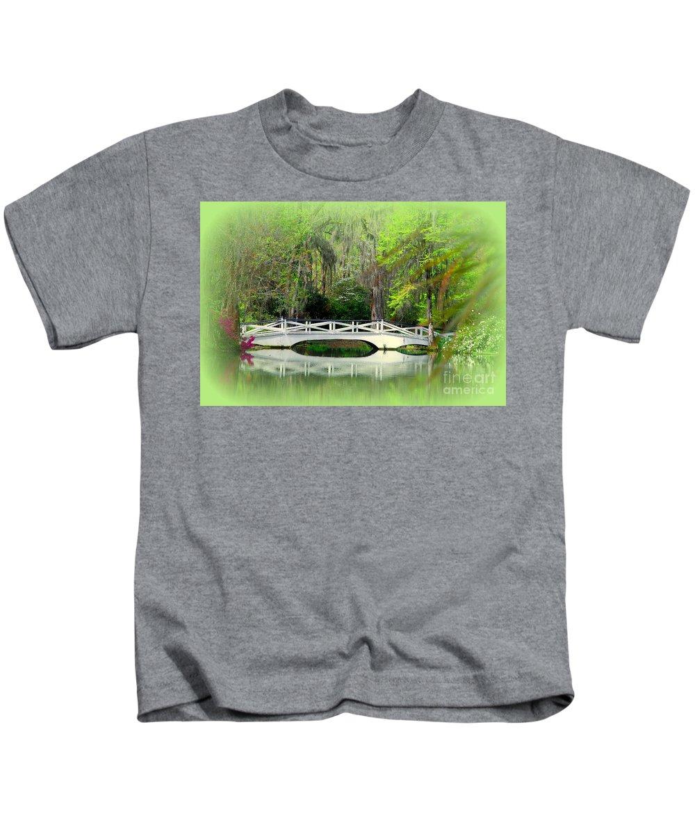 White Bridge Kids T-Shirt featuring the photograph Romantic Bridge In Magnolia Gardens Sc by Susanne Van Hulst