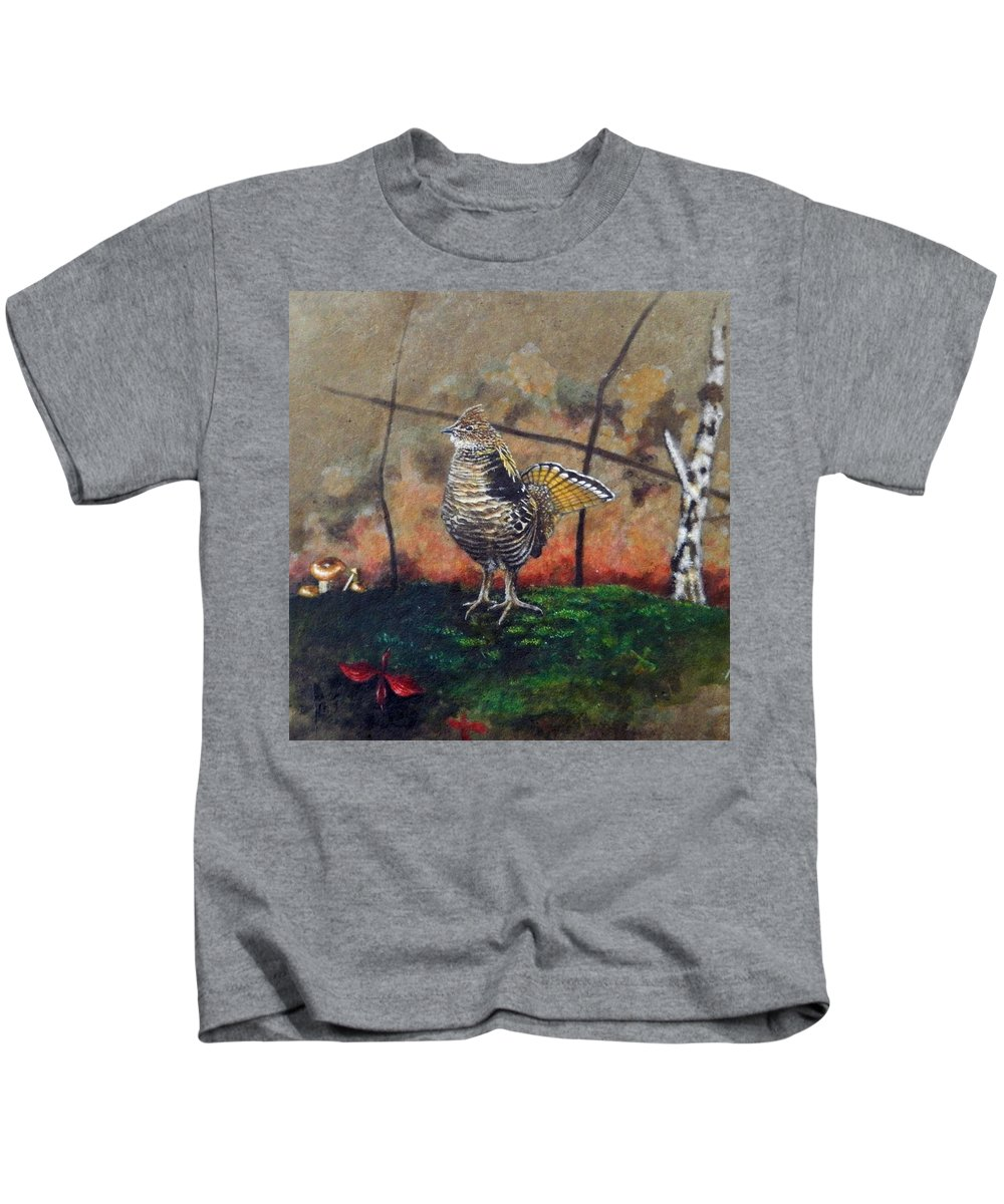 Stan White Kids T-Shirt featuring the painting Ruffed Grouse by Stan White