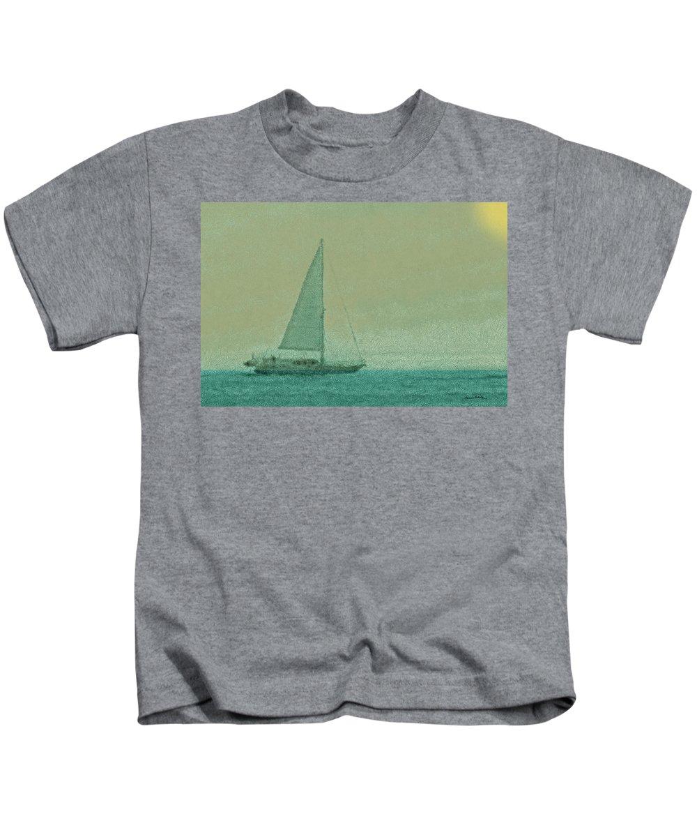 Boats Kids T-Shirt featuring the digital art Sailing The Coast by Ernie Echols