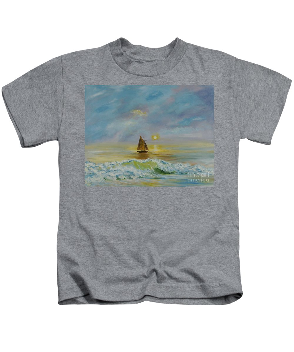 Sailboat Kids T-Shirt featuring the painting Sailing The Ocean Blue by Leslie Allen