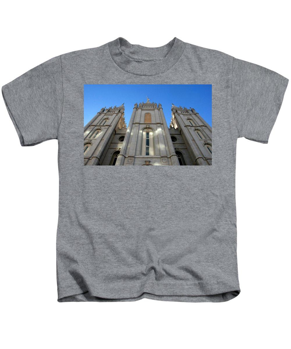 Fine Art Photography Kids T-Shirt featuring the photograph Salt Lake Temple by David Lee Thompson