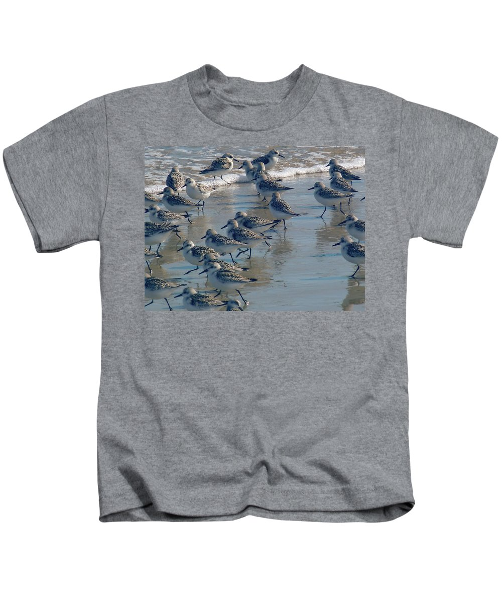 Birds Kids T-Shirt featuring the photograph Sanderlings by Nancy Griswold