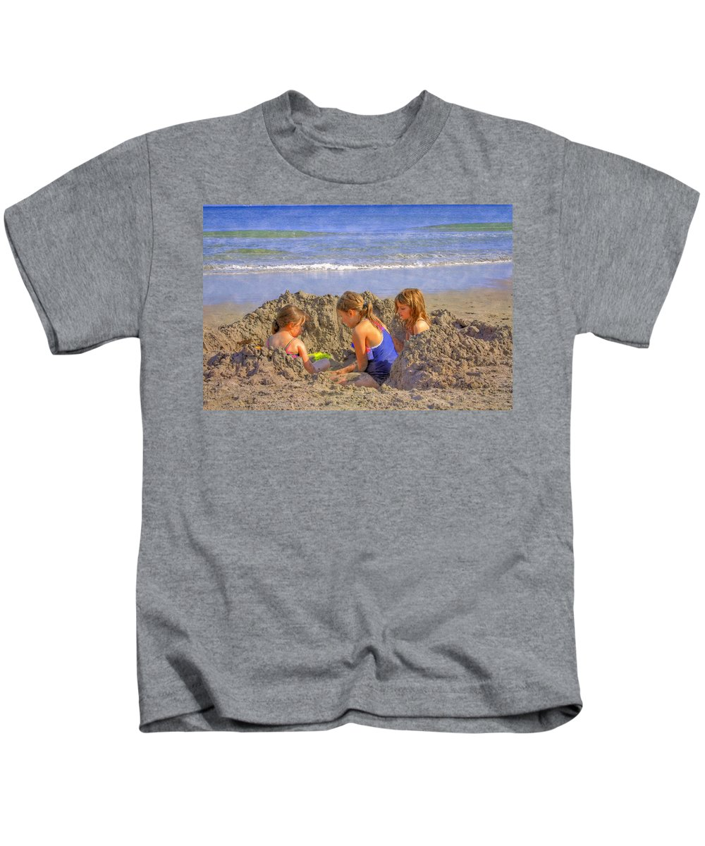 Clouds Kids T-Shirt featuring the photograph Sandy Fingers Sandy Toes by Debra and Dave Vanderlaan
