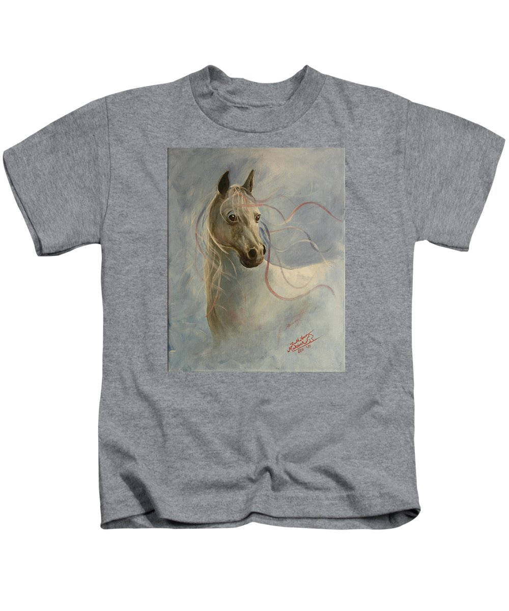 Horse Kids T-Shirt featuring the painting Shadow's Dance by Ruth Ann Murdock