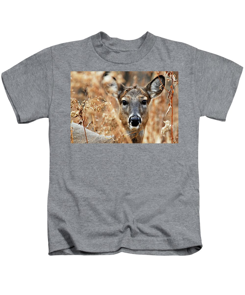 Photography Kids T-Shirt featuring the photograph Shy Doe by Larry Ricker