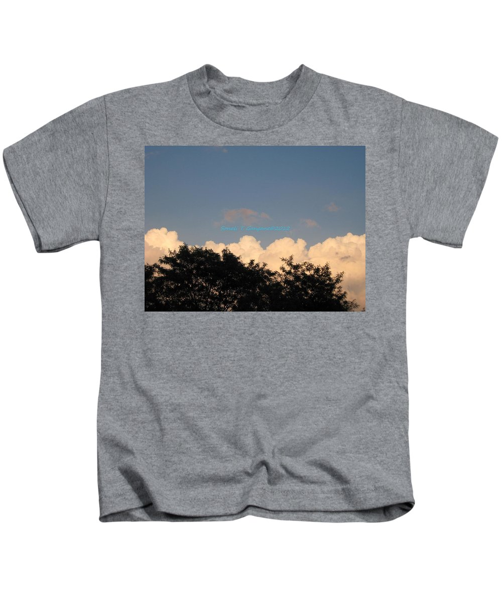 Silver Clouds Kids T-Shirt featuring the photograph Silver Layer by Sonali Gangane