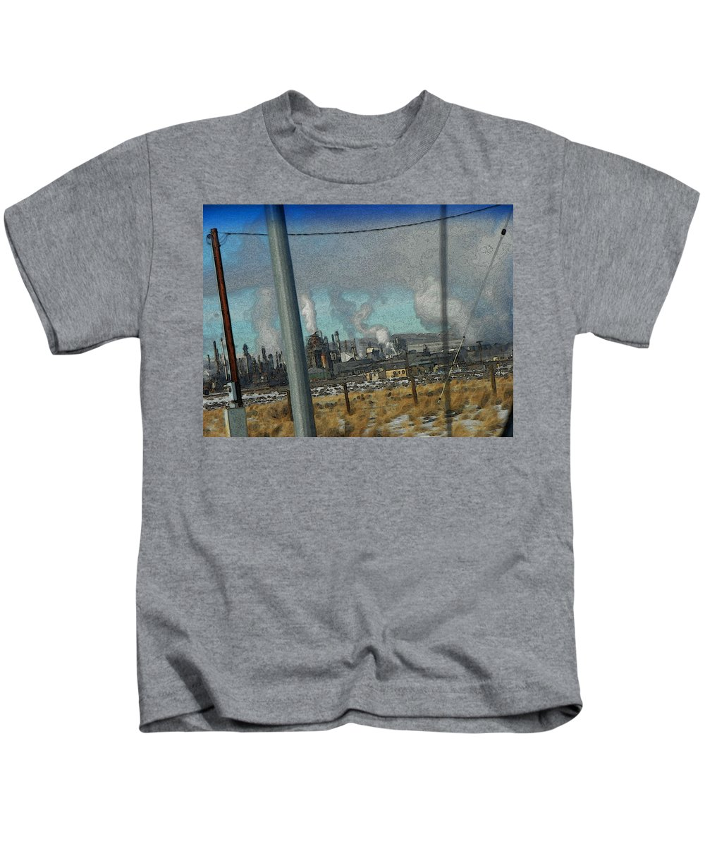 Abstract Kids T-Shirt featuring the photograph Sinclair Refinery by Lenore Senior