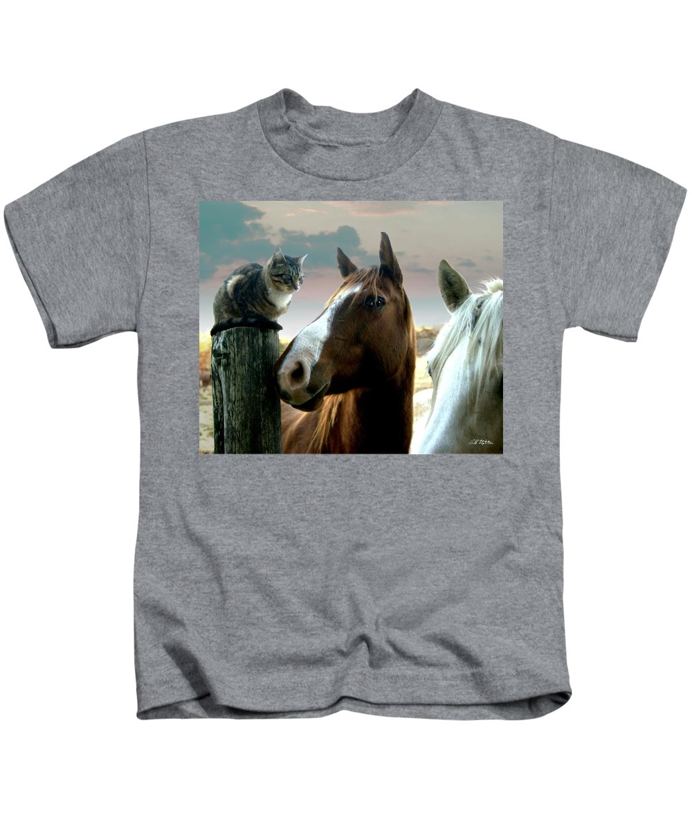 Horses Kids T-Shirt featuring the photograph Sitting With Giants by Bill Stephens