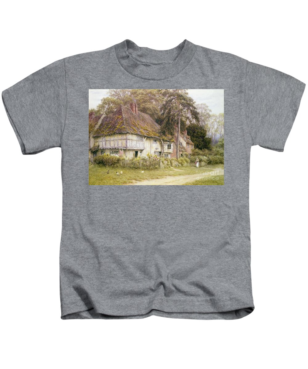 House Kids T-Shirt featuring the painting Six Bells Hollingbourne Kent by Helen Allingham