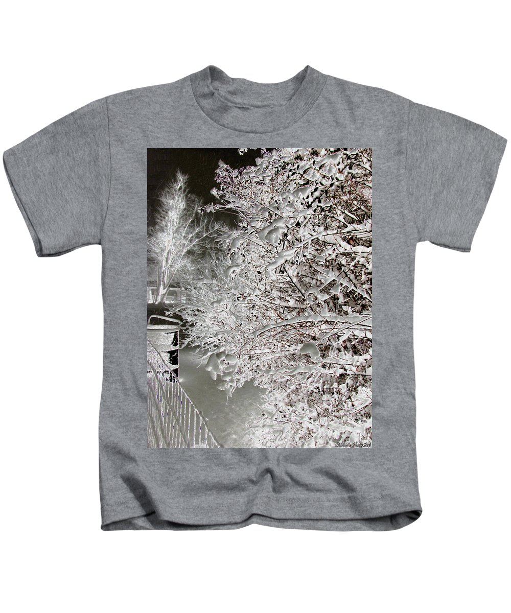 Nature Kids T-Shirt featuring the photograph Snow Laden Branches II by Debbie Portwood