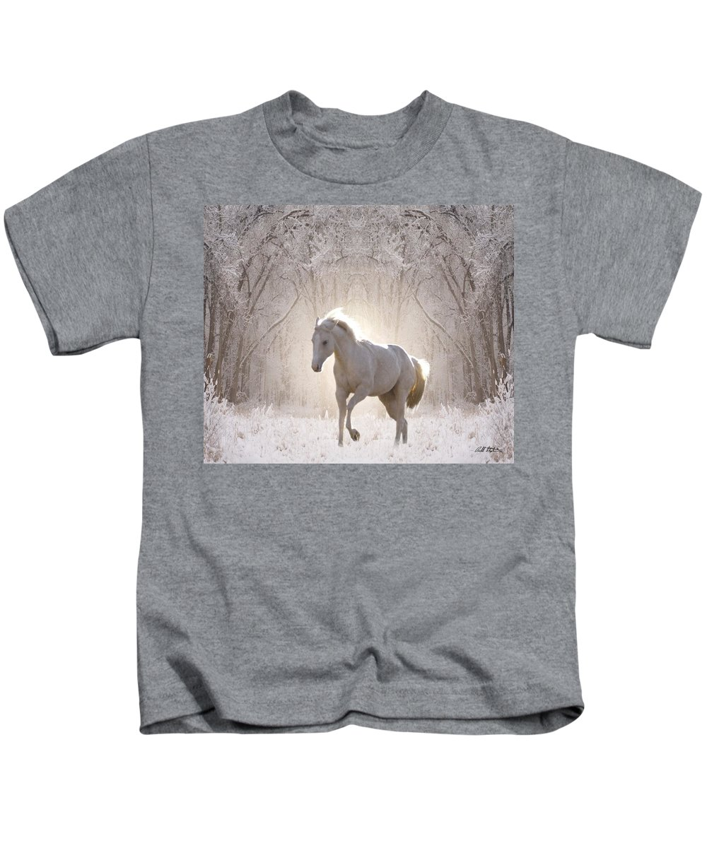 Horses Kids T-Shirt featuring the digital art Snow White by Bill Stephens