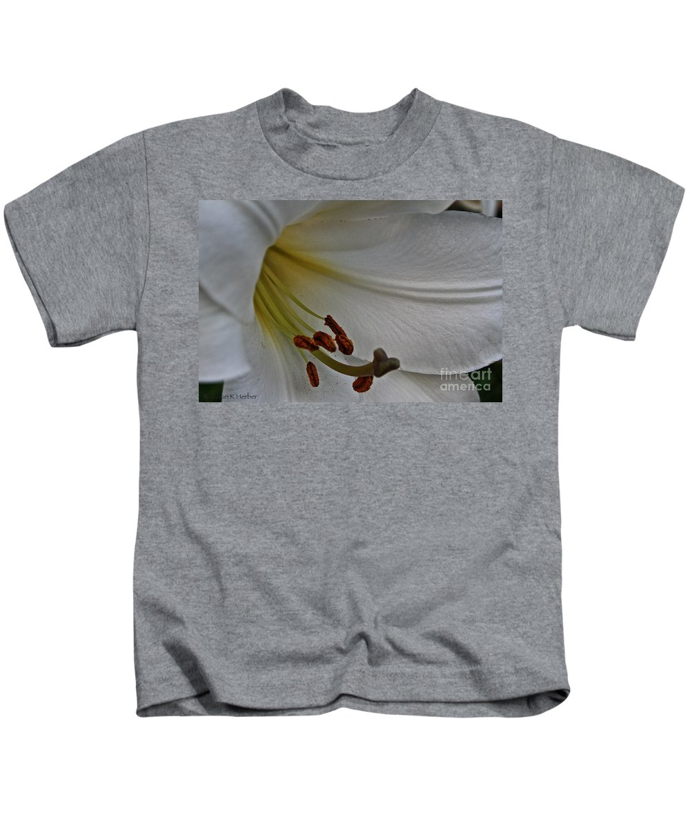 Outdoors Kids T-Shirt featuring the photograph Snowy Lily by Susan Herber
