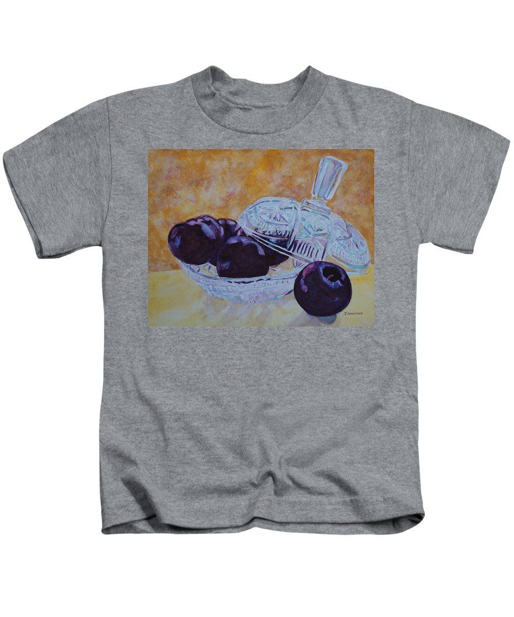 Plums Kids T-Shirt featuring the painting So Juicy And Sweet by Jenny Armitage