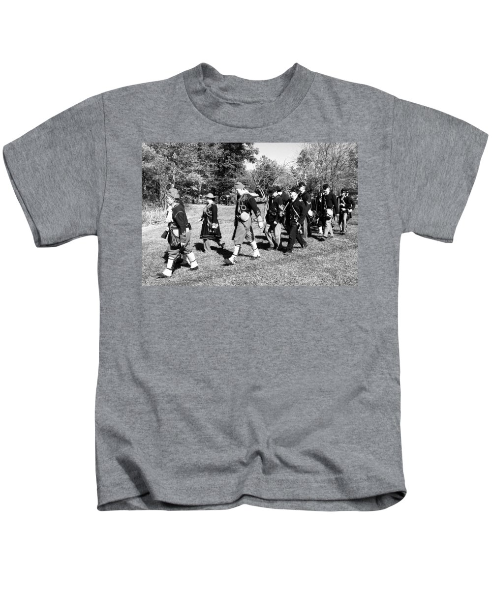 Usa Kids T-Shirt featuring the photograph Soldiers March Black And White IIi by LeeAnn McLaneGoetz McLaneGoetzStudioLLCcom