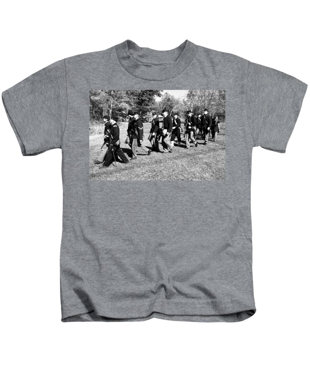 Usa Kids T-Shirt featuring the photograph Soldiers March by LeeAnn McLaneGoetz McLaneGoetzStudioLLCcom