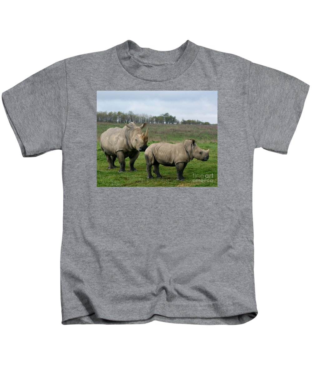 Wildlife Kids T-Shirt featuring the photograph Southern White Rhinos by Dawn Downour