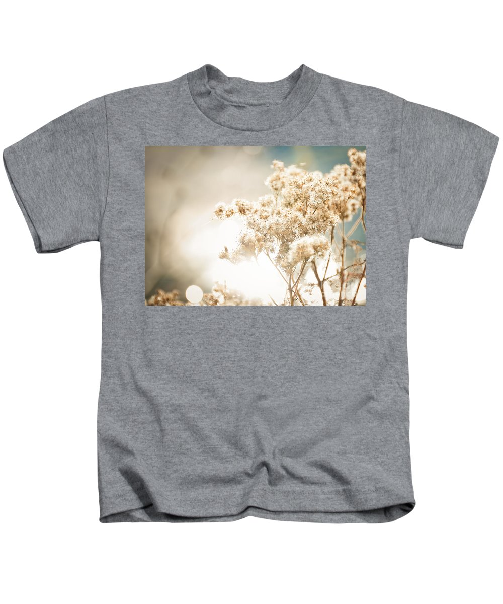 Landscape Kids T-Shirt featuring the photograph Sparkly Weeds by Cheryl Baxter