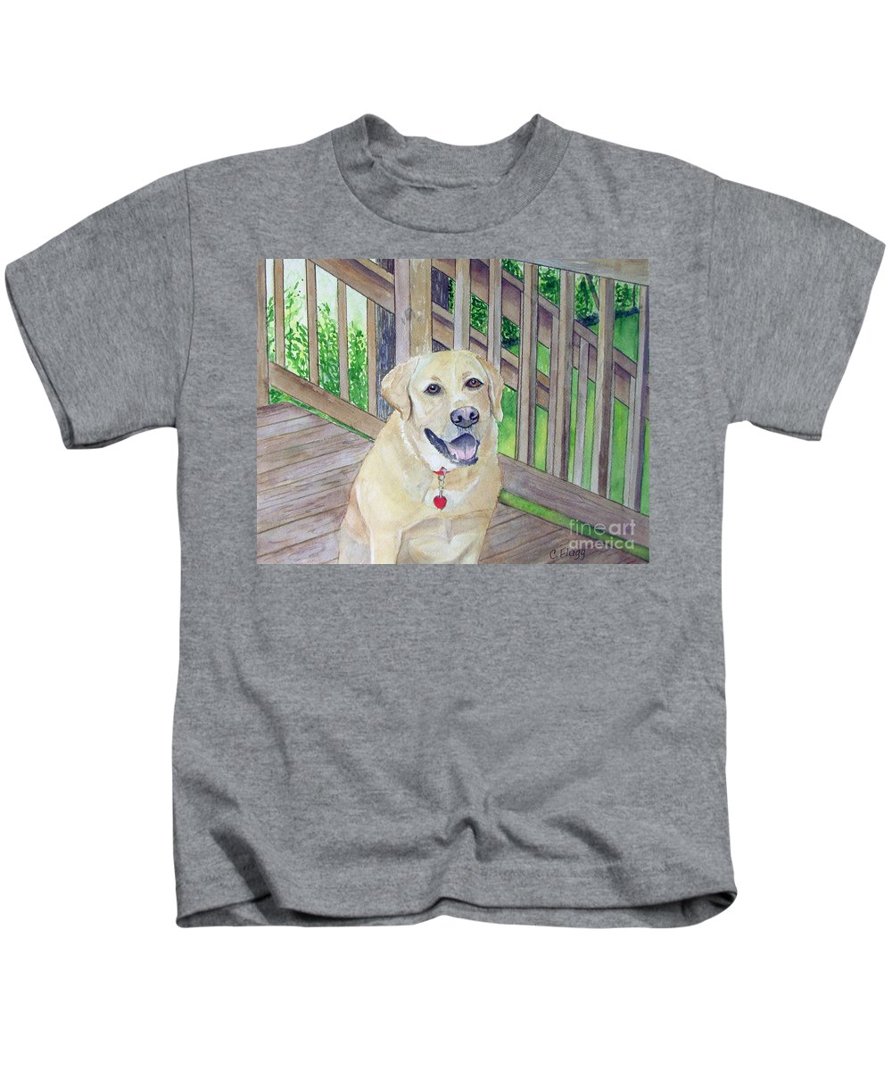 Dog Kids T-Shirt featuring the painting Spencer On Porch by Carol Flagg