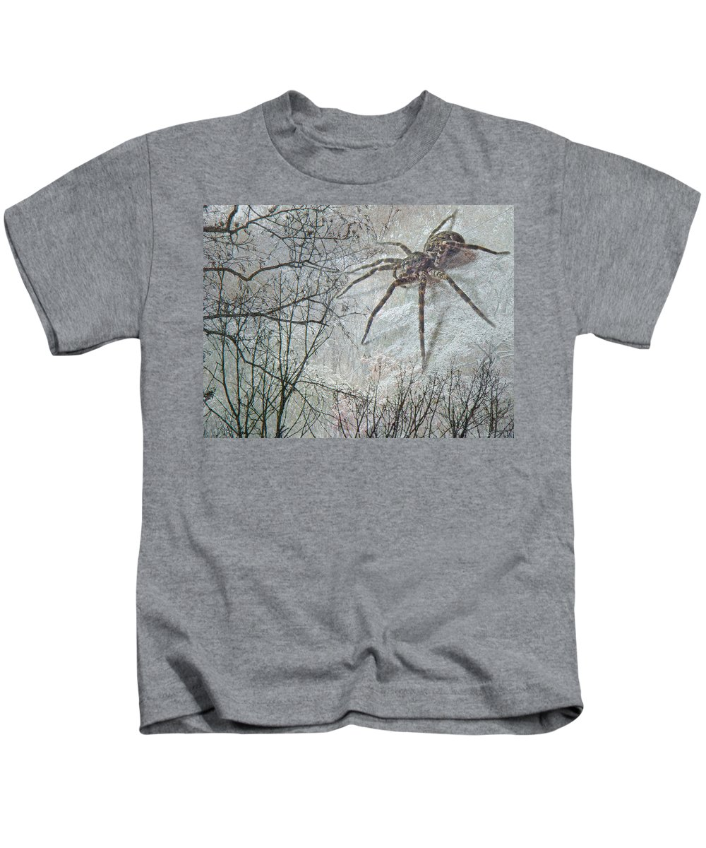 Spider Kids T-Shirt featuring the photograph Spider Descending by Mother Nature
