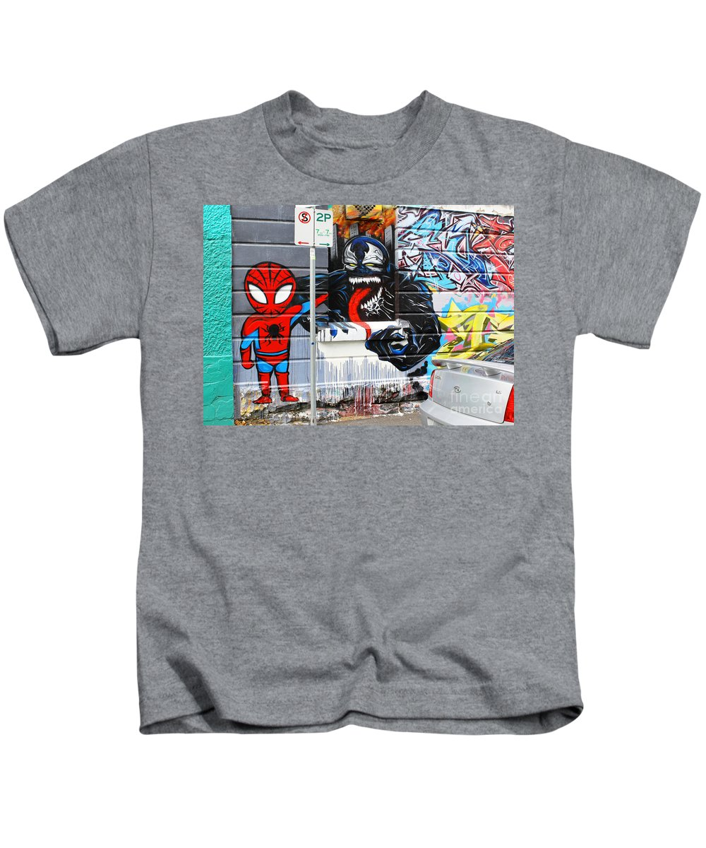 Spiderman Kids T-Shirt featuring the photograph Spiderman by Corin Stone