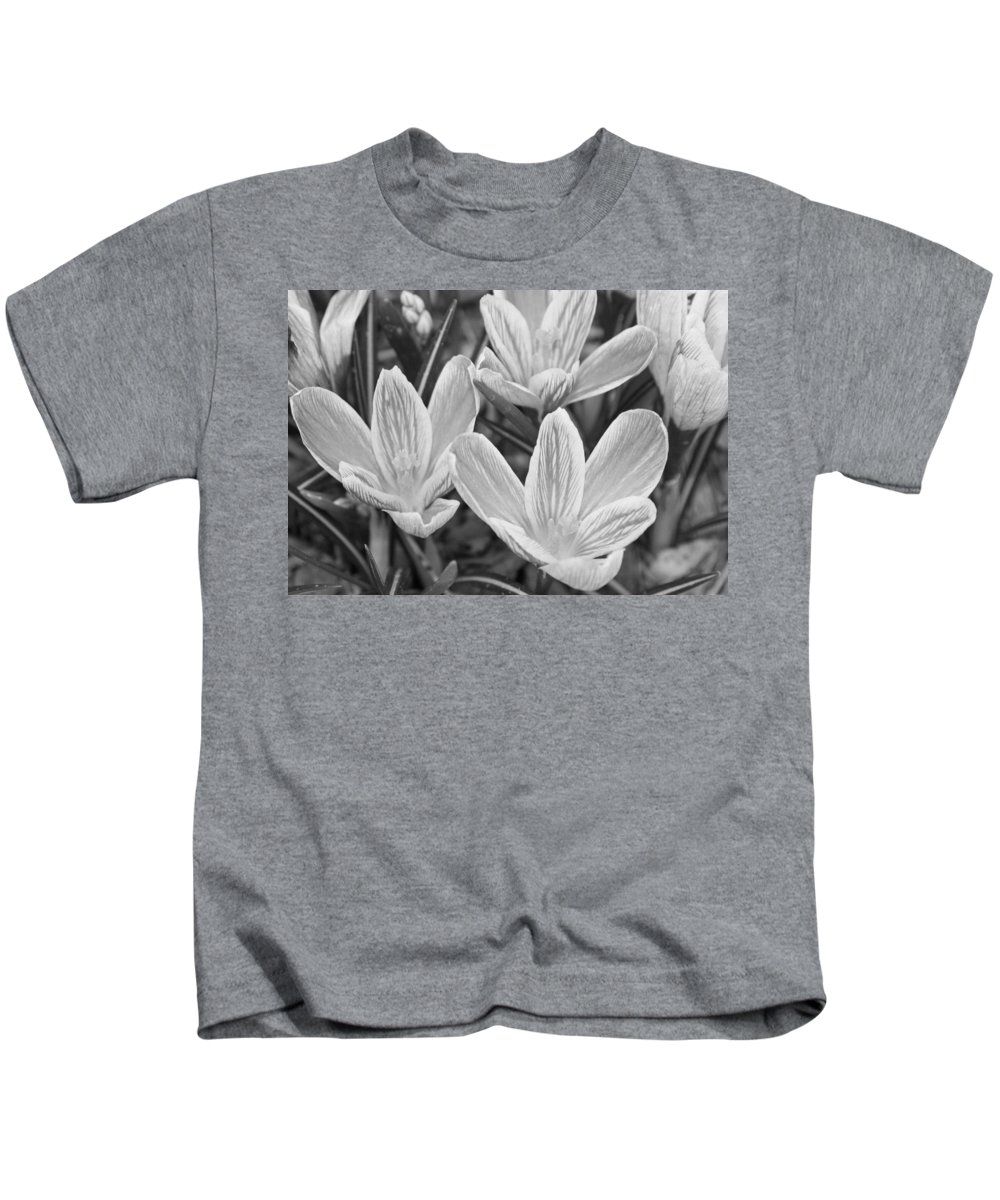 Flowers Kids T-Shirt featuring the photograph Spring Crocus In Black And White by Greg Plamp