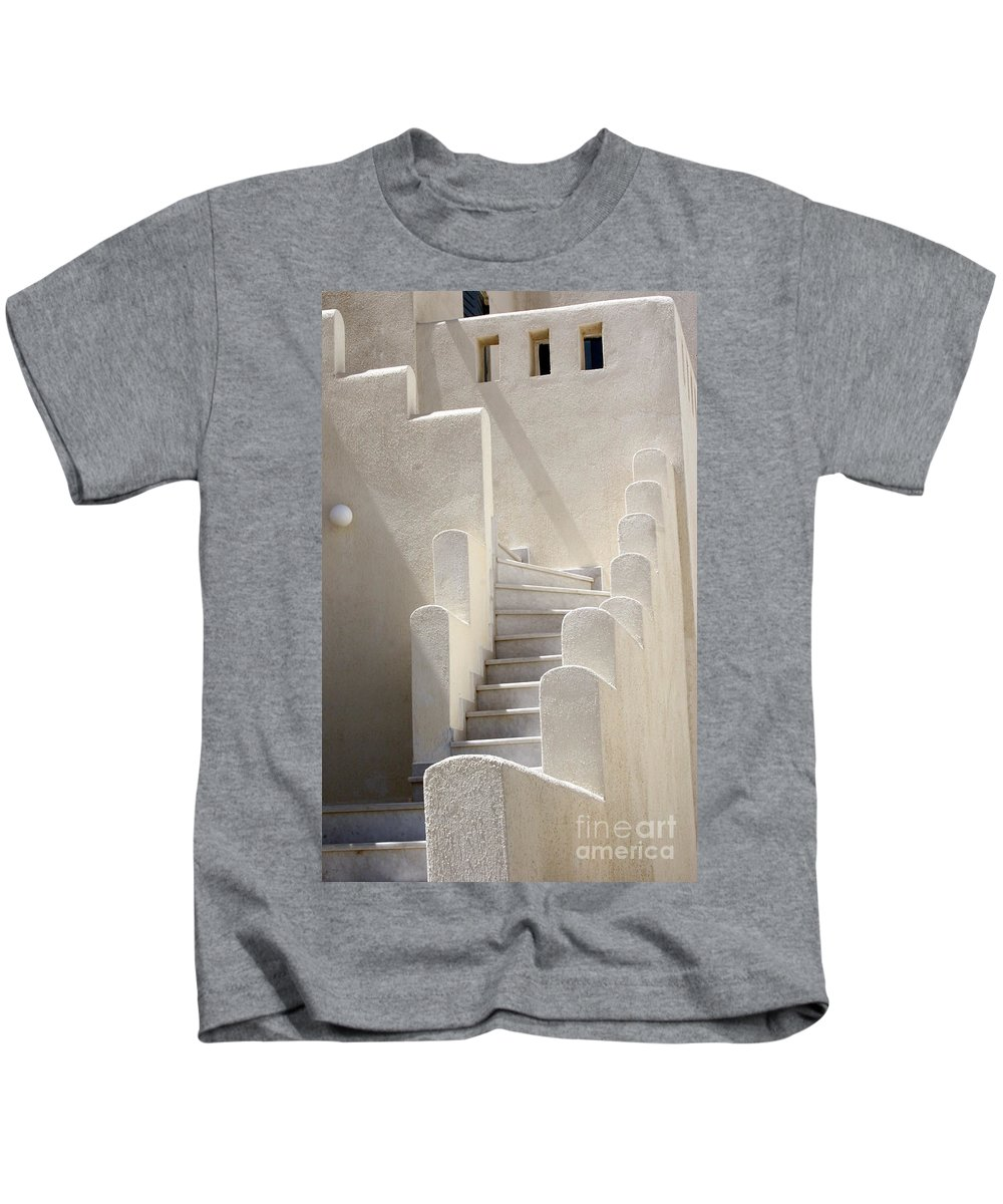 Places Kids T-Shirt featuring the photograph Stairs In Greece by Sabrina L Ryan