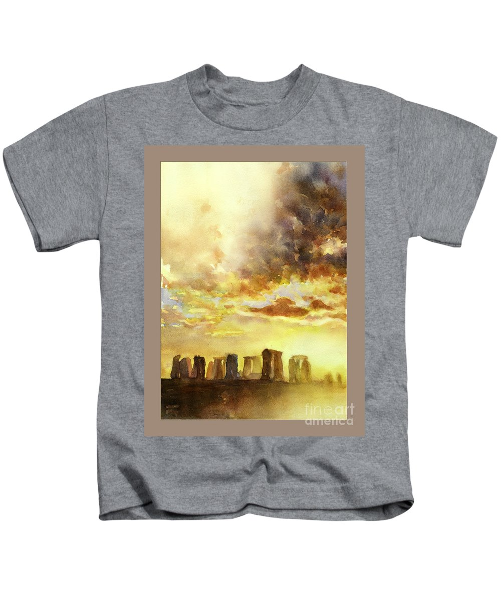 Alvaro Castagnet Kids T-Shirt featuring the painting Stonhenge Ruins In England by Ryan Fox