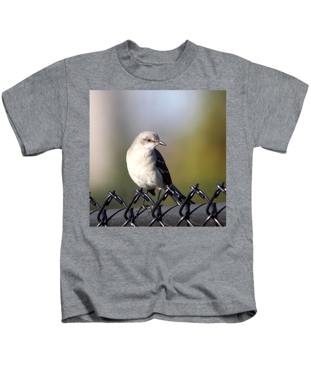 Northern Mockingbird Kids T-Shirt featuring the photograph Straddling The Fence by Travis Truelove