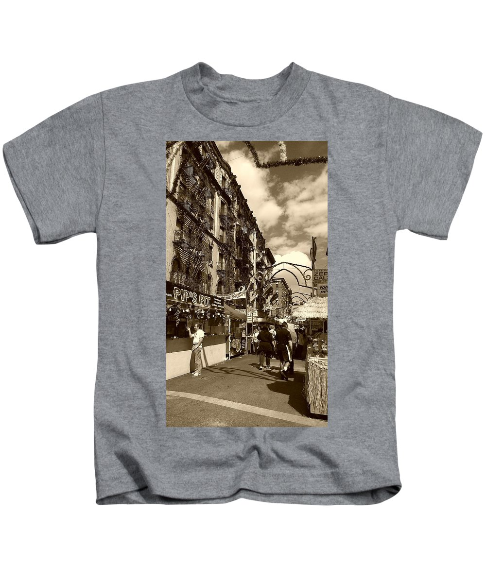 San Gennaro Kids T-Shirt featuring the photograph Streets of Little Italy by Catie Canetti