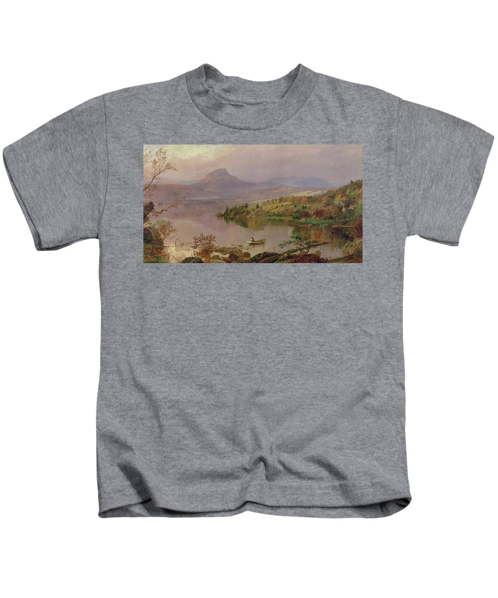 American Landscape; Boat; Mountain; Franklin County; West-central Maine; Spring; Rugged; Solitary; Hudson River School;sugarloaf From Wickham Lake Kids T-Shirt featuring the painting Sugarloaf From Wickham Lake by Jasper Francis Cropsey