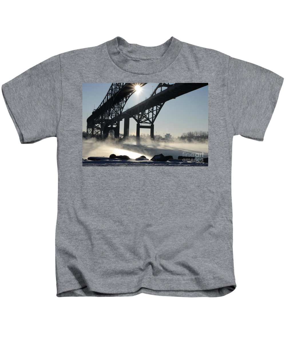 Fog Kids T-Shirt featuring the photograph Sunrise Blue Water Bridges Fog by Ronald Grogan