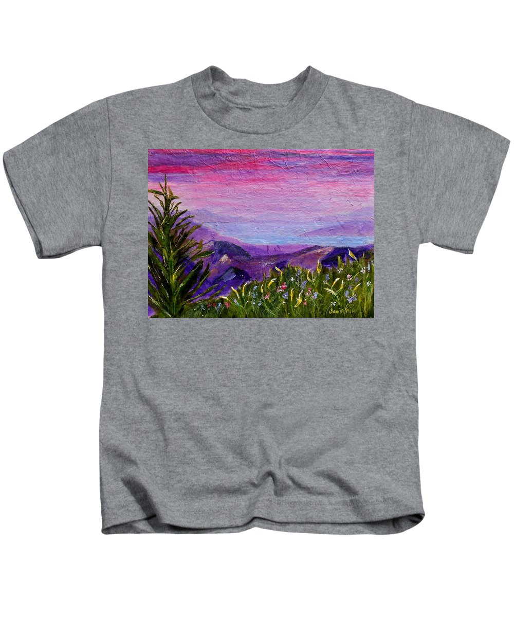 Collage Kids T-Shirt featuring the painting Sunset Lake by Jamie Frier