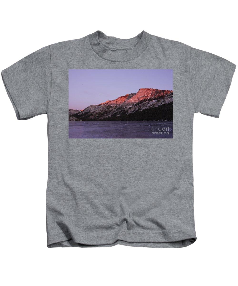 Yosemite Kids T-Shirt featuring the photograph Sunset On Frozen Tenaya Lake by Jim And Emily Bush