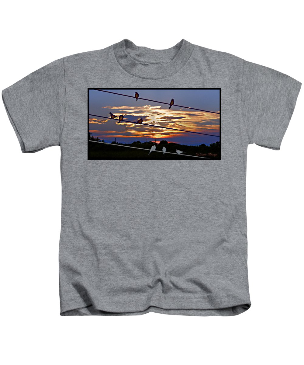 Birds Kids T-Shirt featuring the digital art Sunsets And Birds by Susan Kinney