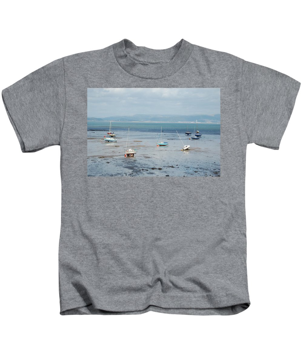 Swansea Bay Kids T-Shirt featuring the photograph Swansea Bay Sailboats by Tam Ryan