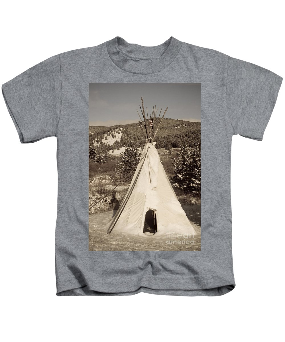 Native Kids T-Shirt featuring the photograph Teepee In The Snow by James BO Insogna