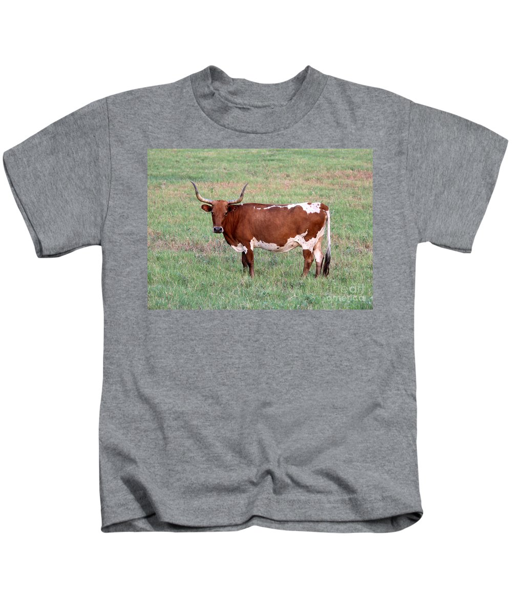 Texas Longhorn Kids T-Shirt featuring the photograph Texas Longhorn by Kathy White