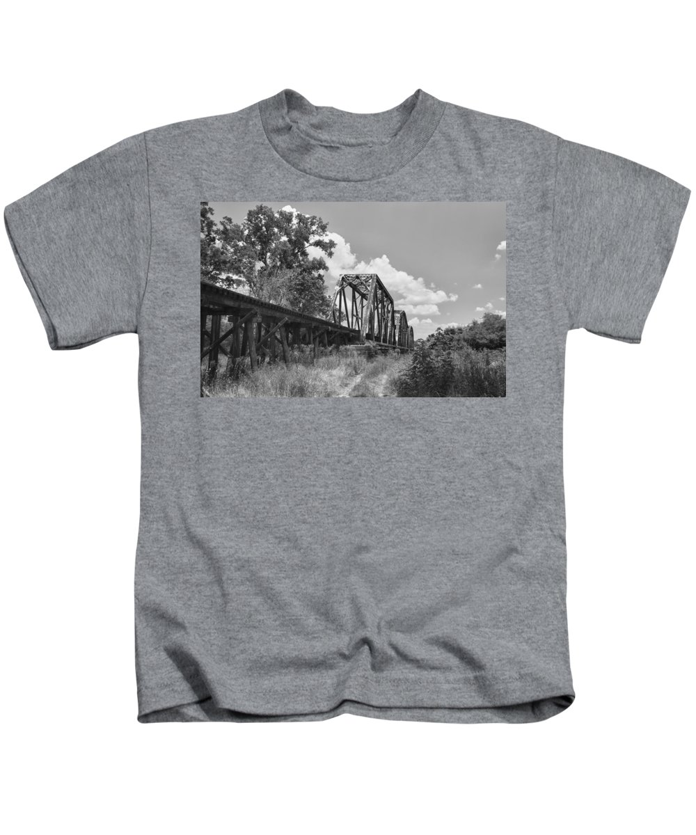 Bridges Kids T-Shirt featuring the photograph Texas Railroad Bridge by Guy Whiteley