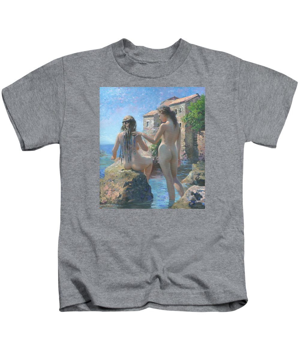 Girl Kids T-Shirt featuring the painting The Adriatic Sea Mmxi by Denis Chernov