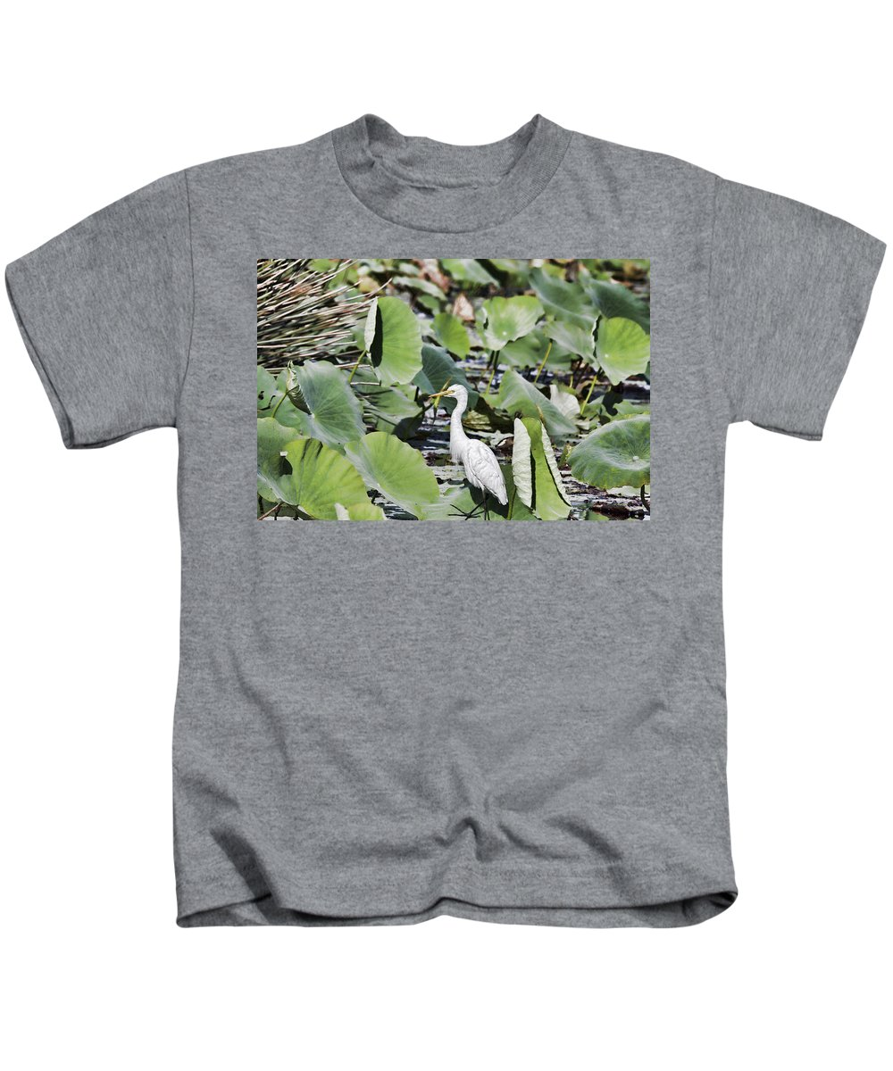 Egret Kids T-Shirt featuring the photograph The Lily Float by Douglas Barnard