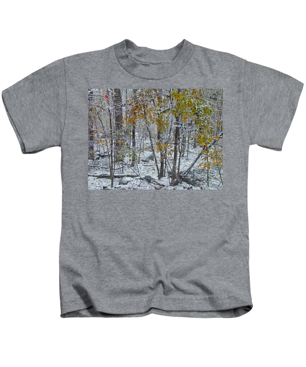 Snow Kids T-Shirt featuring the photograph The October Blizzard Begins by Mother Nature