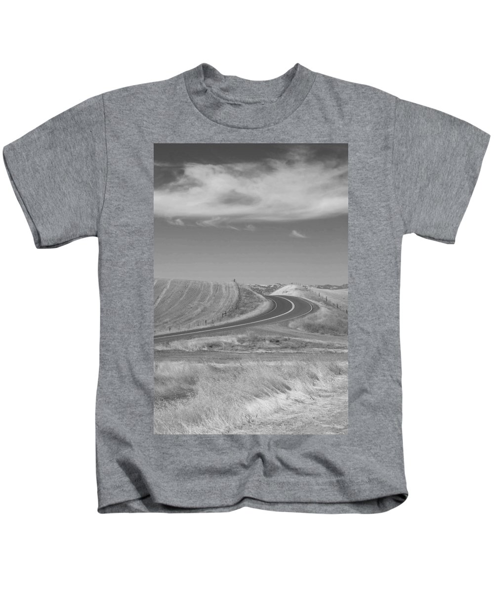 Landscape Kids T-Shirt featuring the photograph The Quiet Road by Kathleen Grace