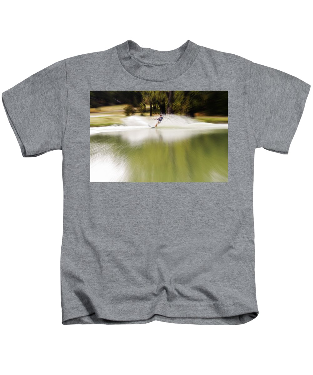 The Water Skier Kids T-Shirt featuring the photograph The Water Skier 1 by Douglas Barnard