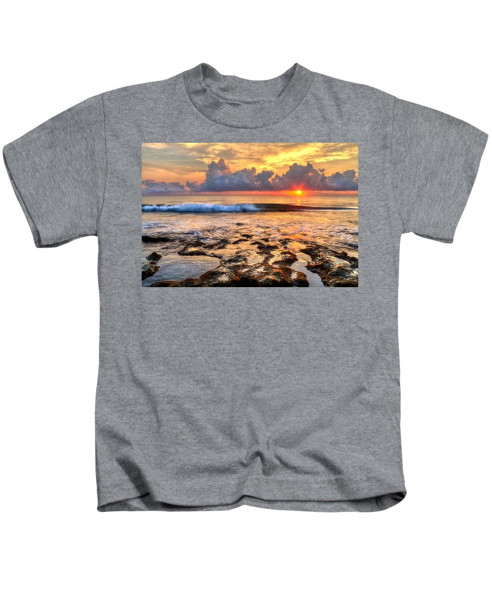 Blowing Rocks Kids T-Shirt featuring the photograph The Wave by Debra and Dave Vanderlaan